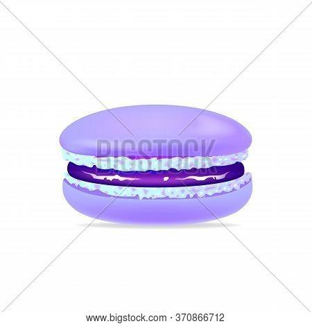 Macaroon, Blueberry Jam Cookie Realistic Vector Illustration. Meringue, Tasty Creamy Dessert, Tradit
