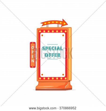 Special Offer Vector Advert Board Sign Illustration. Shopping Sale. Commercial Billboard Mockup Desi