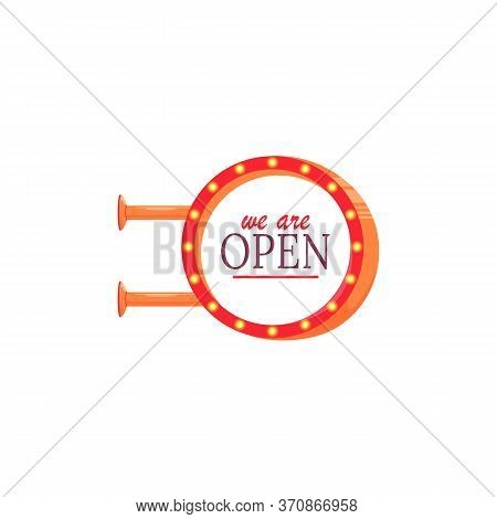 We Are Open Vector Advert Board Sign Illustration. Commercial Billboard Mockup Design With Copy Spac