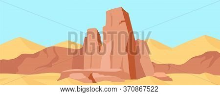 Canyon Flat Color Vector Illustration. Dry Desert Mountains Landscape. Wild Nature Scenery. Cliff Sc