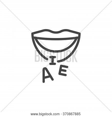 Thin Outline Mouth And Letters Icon. Such Line Sign As Articulation, Speech Therapy, Talk Or Speak.