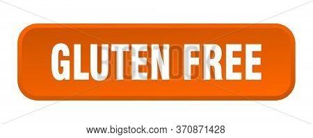 Gluten Free Button. Gluten Free Square 3d Push Button