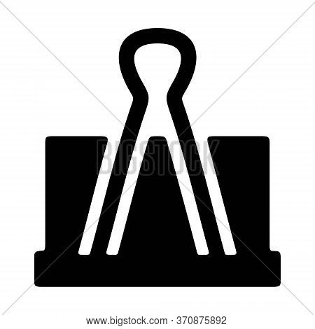 Binder Clip Icon In Line Style. Paper Fastener Symbol. Office Tool Sign.