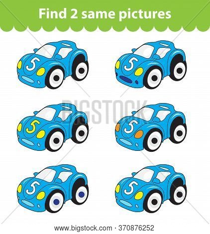 Childrens Educational Game. Find Two Same Pictures. Set Of Car Toy For The Game Find Two Same Pictur