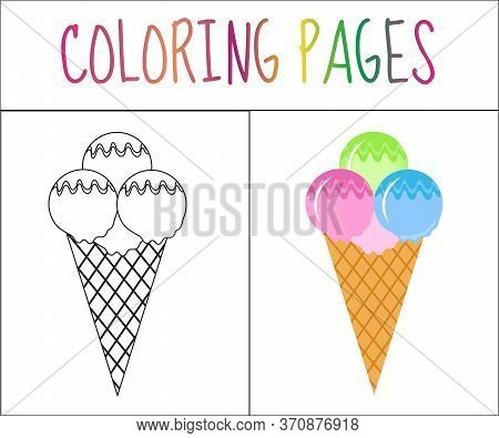 Coloring Book Page. Ice Cream. Sketch And Color Version. Coloring For Kids. Illustration