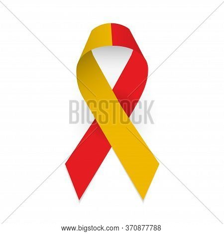 Red And Yellow Ribbon As Symbol Hepatitis Awareness. Isolated Vector Object On White Background