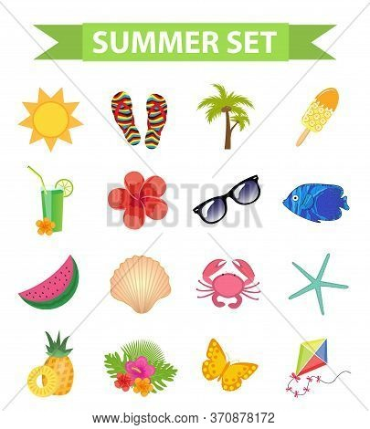 Hello Summer Icon Set, Flat, Cartoon Style. Beach, Vacation Collection Of Design Elements. Isolated