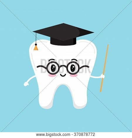 Happy Wisdom Tooth In Glasses With Pointer And Black Graduate Hat. Vector Illustration Of Educationa