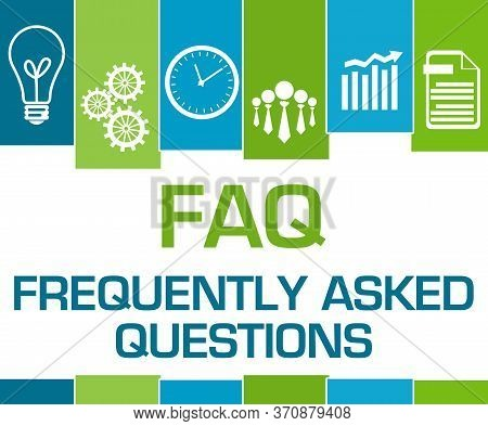Faq Concept Image With Text Over Blue Green Background.