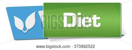 Diet Text Alphabets With Leaves Written Over Green Blue Background.