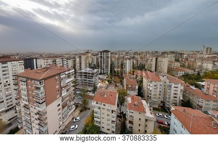 Panoramic View Of City Apartment Buildings On A Dark Autumn Day In Istanbul, Turkey.