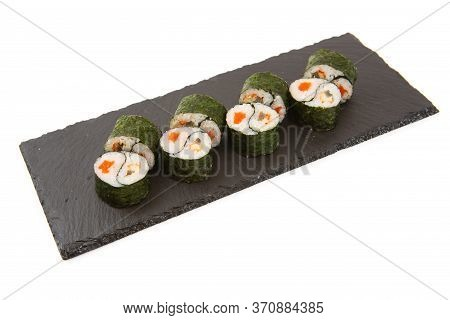 Roll On A Black Slate Board - Tobiko Orange Salmon