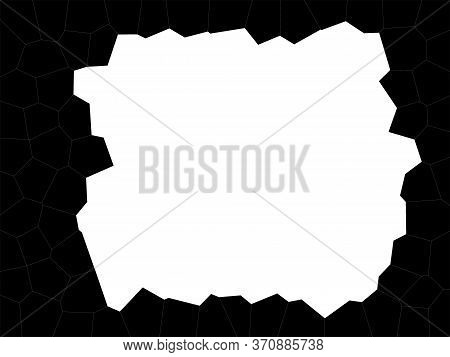 Abstract Black And White Background. White Square With Jagged Edges. White Square On A Black Mosaic