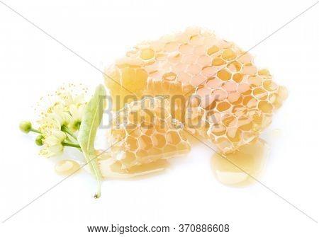 Linden flowers with honeycombs. Linden honey.
