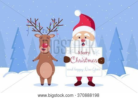 Merry Christmas and Happy New Year background. Santa and deer. Merry christmas greeting card vector background. Merry christmas and happy new year.