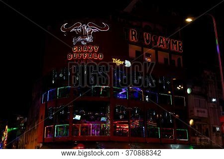 Ho Chi Minh City, Vietnam - March 27,2019: Colorful Neon Lights Of Restaurants And Bars On Bui Vien