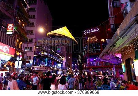 Ho Chi Minh City, Vietnam - March 27, 2019: Colorful Nightlife On Pedestrian Bui Vien Walking Street