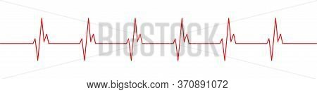 Heartbeat Red Line Icon. Heart Pulse, Rhythm Vector Icon.