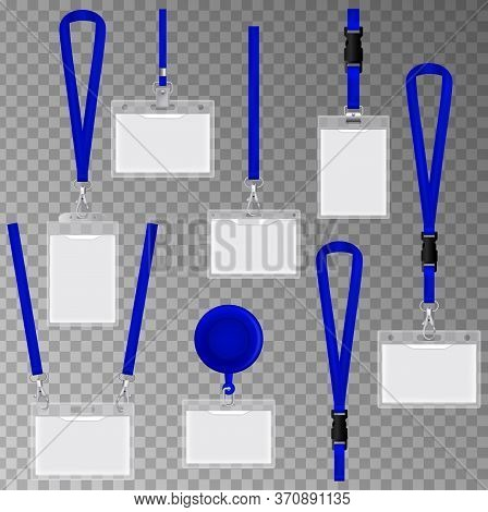 Clear Plastic Badges Id Cards Holders Collection With Blue Neck Lanyards.  Id Card Set With Black Cl