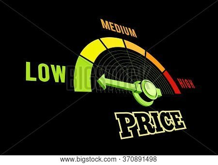 Low Price Speedometer Vector 3d Illustration On Black