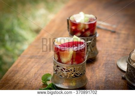 Cold Sangria On Table, Refreshment In Hot Summer Days