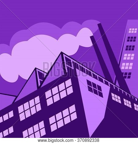 Megapolis Three-dimensional View Of The Factory. View From Below Inclined Perspective. Buildings On