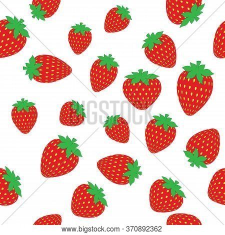 Strawberry Pattern. Ripe Fresh Tasty Strawberry Isolated On A White Background. Beautiful Red Strawb