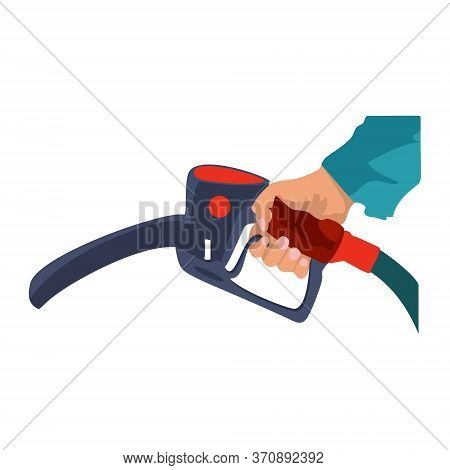 Fuel Pump In Hand Man. Petrol Station. Holding Fuel Nozzle. Vector Illustration Flat Design Style, I