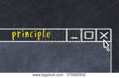 Chalk Sketch Of Closing Browser Window With Page Header Inscription Principle