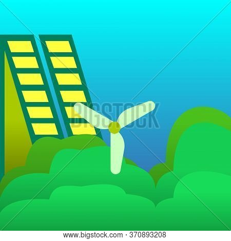 Illustration Of A Windmill And Solar Energy Panels. Green Eco City Ecology Vector Background Concept