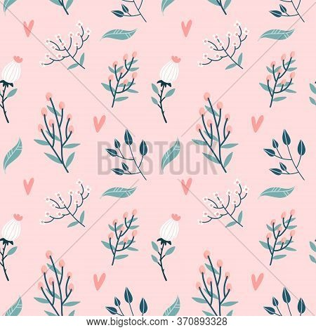 Floral Seamless Pattern. Garden Flowers Branches, Buds And Hearts On Pastel Pink Background. Roses B