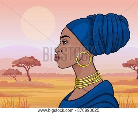 African Beauty: Animation Portrait Of The  Beautiful Black Woman In A Blue Turban And Gold Jewelry.