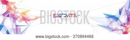 Big Data Web Banner With Colorful Triangle Particles. Information Background With Futuristic Geometr