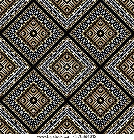 Modern Gold Silver Waffle 3d Vector Seamles Pattern. Geometric Ornamental Waffled Background. Beauti