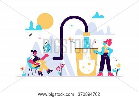 Clean Mineral Mountain Water Vector Illustration. Flat Tiny Potable Drinking Persons Concept. Fresh