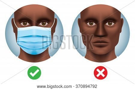 Black Man With And Without A Surgical Face Mask. Covid-19 Safety Measures Vector Illustration. Coron