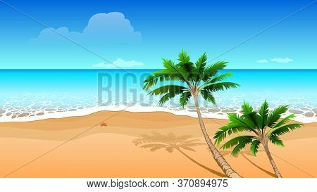 Clear Blue Sea, Two Coconut Palm Tree On Sandy Beach. Seamless Horizontal Tropical Landscape. Vector