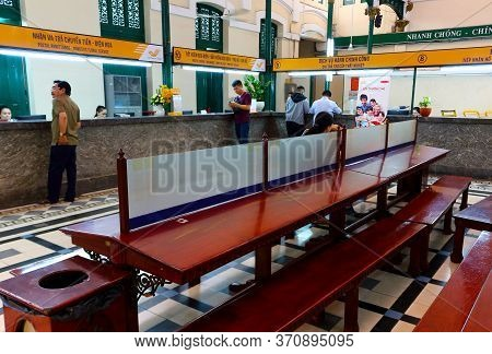 Ho Chi Minh City, Vietnam - March 28, 2019: Interiors With Old Wooden Furniture At The Of Central Po
