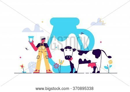 Milk Vector Illustration. Flat Tiny Fresh Cow Beverage Drink Persons Concept. Delicious And Healthy