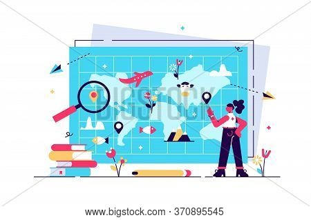 Geography Vector Illustration. Flat Tiny Atlas Earth Study Persons Concept. Abstract Topography Scie
