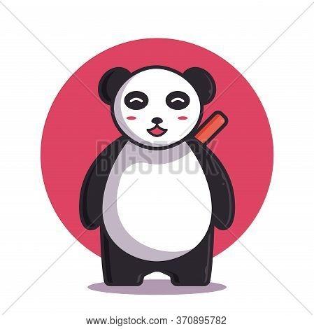 Cute Panda Vector Illustration. Ninja Panda Logo. Flat Cartoon Style