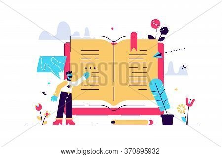 Poetry Vector Illustration. Flat Tiny Poem Manuscript Author Person Concept. Abstract Literature Wri