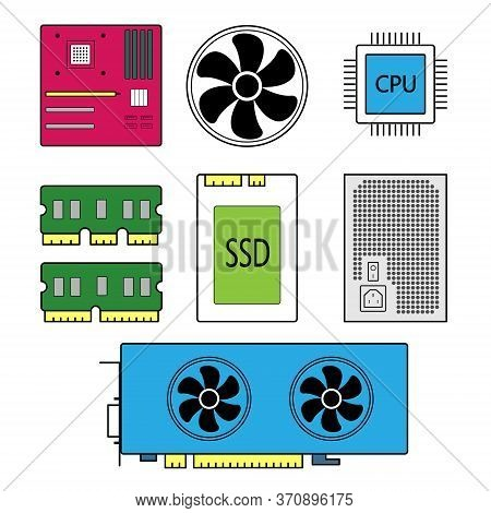 Component Parts For A Personal Computer, Main Parts For A Computer, Vector.
