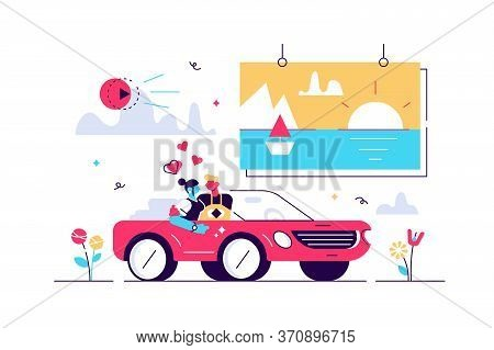 Movies Vector Illustration. Flat Tiny Media Film Theater Persons Concept. Outside Drive In Digital M