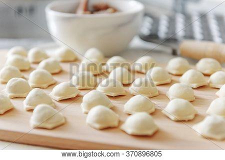 Homemade Meat Dumplings.dumplings With Minced Meat Sculpts Cook In The Kitchen. Sculpt Dumplings. Pr