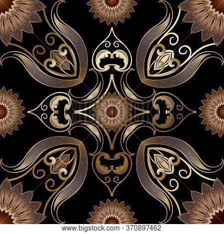 Vintage Gold 3d Vector Seamless Pattern. Floral Ornamental Elegance Background. Repeat Damask Backdr