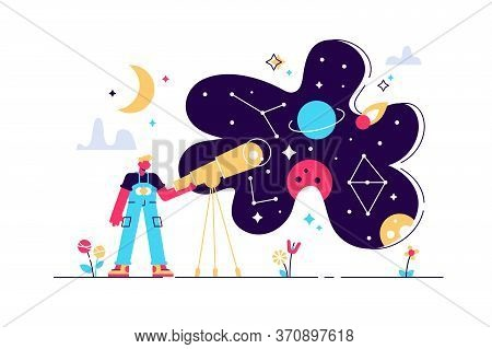 Astronomy Vector Illustration. Flat Tiny Space Research Study Person Concept. Explore Stars And Gala