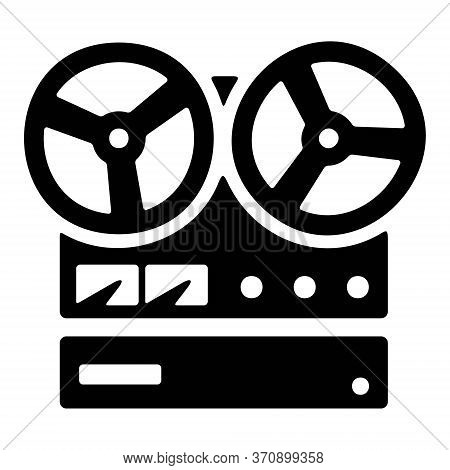 Vintage Reel Tape Recorder Icon. Retro Stereo Recorder Symbol.