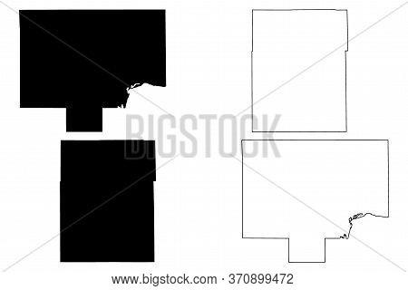 Bureau And Champaign County, Illinois (u.s. County, United States Of America, Usa, U.s., Us) Map Vec