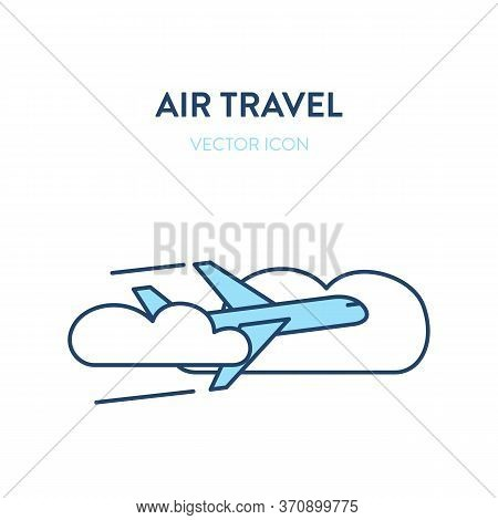 Flying Plane Icon. Vector Flat Outline Illustration Of An Airliner Flying Through The Clouds In The